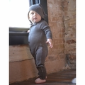 Nui Organics Merino Wool Hooded Romper in Cocoa - last one size 0-3M!