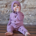 Nui Organics Merino Wool Hooded Romper in Rose