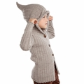 Nui Organics Merino Wool Rib Hooded Jacket in Silver - last one size 6!