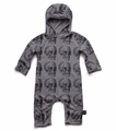 Nununu MD Skull Hooded Playsuit in Heather Grey