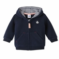 Petit Bateau Baby Boy Hooded Sweatshirt in Navy