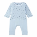 Petit Bateau Baby Boy Origami Printed Top Coverall in Blue