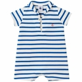 Petit Bateau Baby Boy Short Sleeve Striped Sailor Collar Romper in Blue White