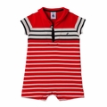 Petit Bateau Baby Boy Short Sleeve Striped Sailor Collar Romper in Red White - Coming soon!