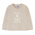 Petit Bateau Baby Boy Sweater with Anchor Graphic in Cream - Coming soon!