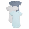 Petit Bateau Baby Boys 3 Pack Short Sleeve Bodysuits Blue Gray - last one size 1M!