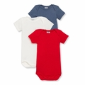 Petit Bateau Baby Boys 3 Pack Short Sleeve Bodysuits Red White Blue
