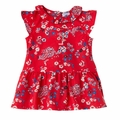 Petit Bateau Baby Girl Japanese Floral Short Ruffle Sleeve Dress in Red