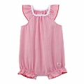 Petit Bateau Baby Girl Red Striped Bubble with Back Ruffles