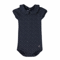 Petit Bateau Baby Girl Short Sleeve Polka Dot Bodysuit in Navy