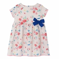 Petit Bateau Baby Girl Short Sleeve Rose Printed Dress with Bow - Coming soon!