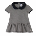 Petit Bateau Baby Girl Short Sleeve Striped Dress with Collar in Navy White