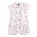 Petit Bateau Baby Girl Short Sleeve Tiny Flower Print Romper with Back Ruffles