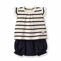 Petit Bateau Baby Girl Striped Short Sleeve Tee and Bloomers 2 Piece Set in Navy