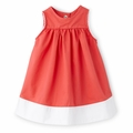 Petit Bateau Baby Girl Two Tone Sleeveless Dress in Hot Pink
