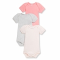 Petit Bateau Baby Girls 3 Pack Short Sleeve Bodysuits Pink Gray