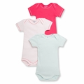 Petit Bateau Baby Girls 3 Pack Short Sleeve Bodysuits Pink Light Blue