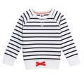 Petit Bateau Big Girl Navy Sailor Striped Sweatshirt