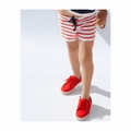 Petit Bateau Big Girl Red Sailor Striped Shorts