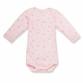 Petit Bateau Feather Print Onesie in Vienne Pink