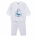 Petit Bateau Gray Stripe Sailboat PJs - size 1M left!