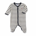 Petit Bateau Iconic Striped Front Snap Footie