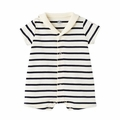 Petit Bateau Iconic Striped Short Sleeve Romper with Sailor Collar