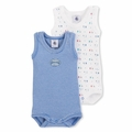 Petit Bateau Scooter Blue 2 Pack Sleeveless Bodysuits - sold out!