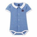 Petit Bateau Short Sleeve Striped Bodysuit With Collar in Blue White
