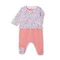 Petit Bateau Sleevless Footie and Floral Jacket 2 Piece Set