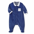 Petit Bateau Three Sailors Velour Footie