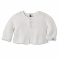 Petit Bateau Unisex Knit Cotton Cardigan in White