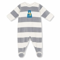 Petit Bateau Unisex Wide Stripe Velour Footie with Bear - last one size 1M!