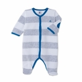 Petit Bateau Velour Wide Striped Front Snap Footie in Grey White
