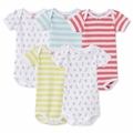 Petit Bateau Vintage Play 5 Pack Short Sleeve Bodysuits For Baby Girl - last one size 12M!