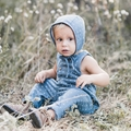 Rylee and Cru Woven Overall Romper in Washed Indigo - last one size 4Y!