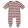 Under the Nile Flannel Side Snap Footie in Panda Stripe - last one size 6M!