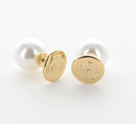 18kt Goldplated 360 Degree Monogram Stud Earrings