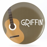 Acoustic Guitar Personalized Kids Plate
