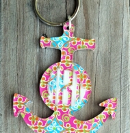 Acrylic Anchor Monogram Key Chain - CHOOSE YOUR MARY BETH GOODWIN PRINT!