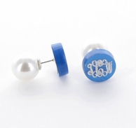 Acrylic and Pearl Monogram 360 Degree Stud Earrings