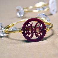 Acrylic Bangle Monogram Bracelet in Gold
