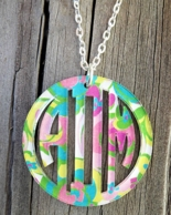 Bordered Circle Acrylic Monogram Necklace - Mary Beth Goodwin Prints!