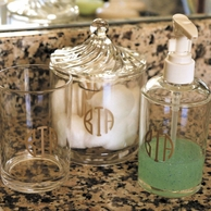 Acrylic Monogrammed Soap Pump, Cotton Swab Holder or Drink Cup
