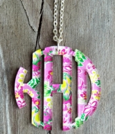 Acrylic Round Monogram Necklace - Choose Your Mary Beth Goodwin Print!