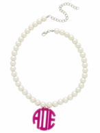 Acrylic ROUND Monogram Pearl Necklace