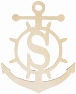 Anchor Initial Wood Wall Monogram