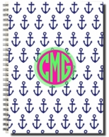 Anchor Navy Monogrammed Spiral Notebook