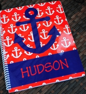 Anchor Red & Navy Personalized Spiral Notebook