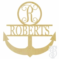 Anchor with Single Letter and Name Wood Wall Monogram